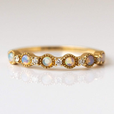 Local Eclectic - 14K Yellow Gold Opal & Diamond Ring - La Kaiser