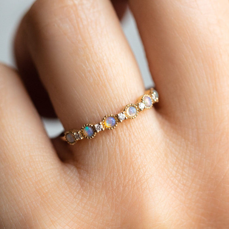 Local Eclectic - 14K Solid Yellow Gold Opal & Diamond Ring - La Kaiser