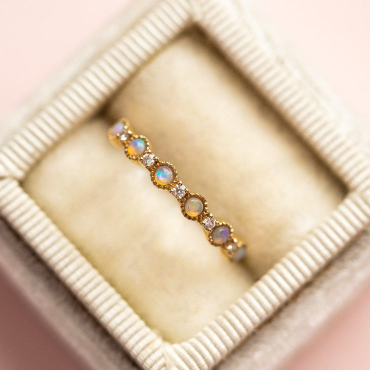 Local Eclectic - 14K Solid Yellow Gold Opal Stone & Diamond Ring - La Kaiser