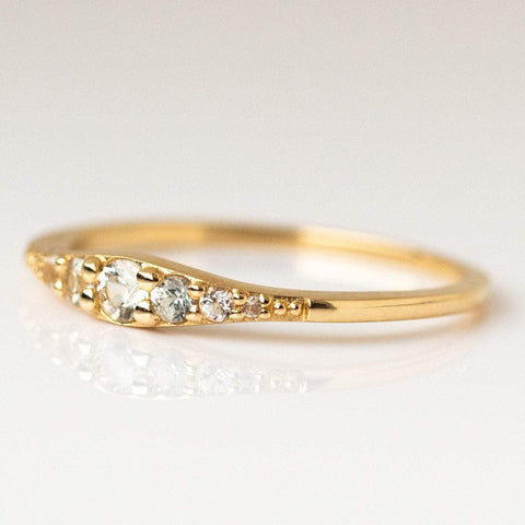 Local Eclectic - 14K Yellow Gold White Sapphire Crystal Ella Ring - La Kaiser