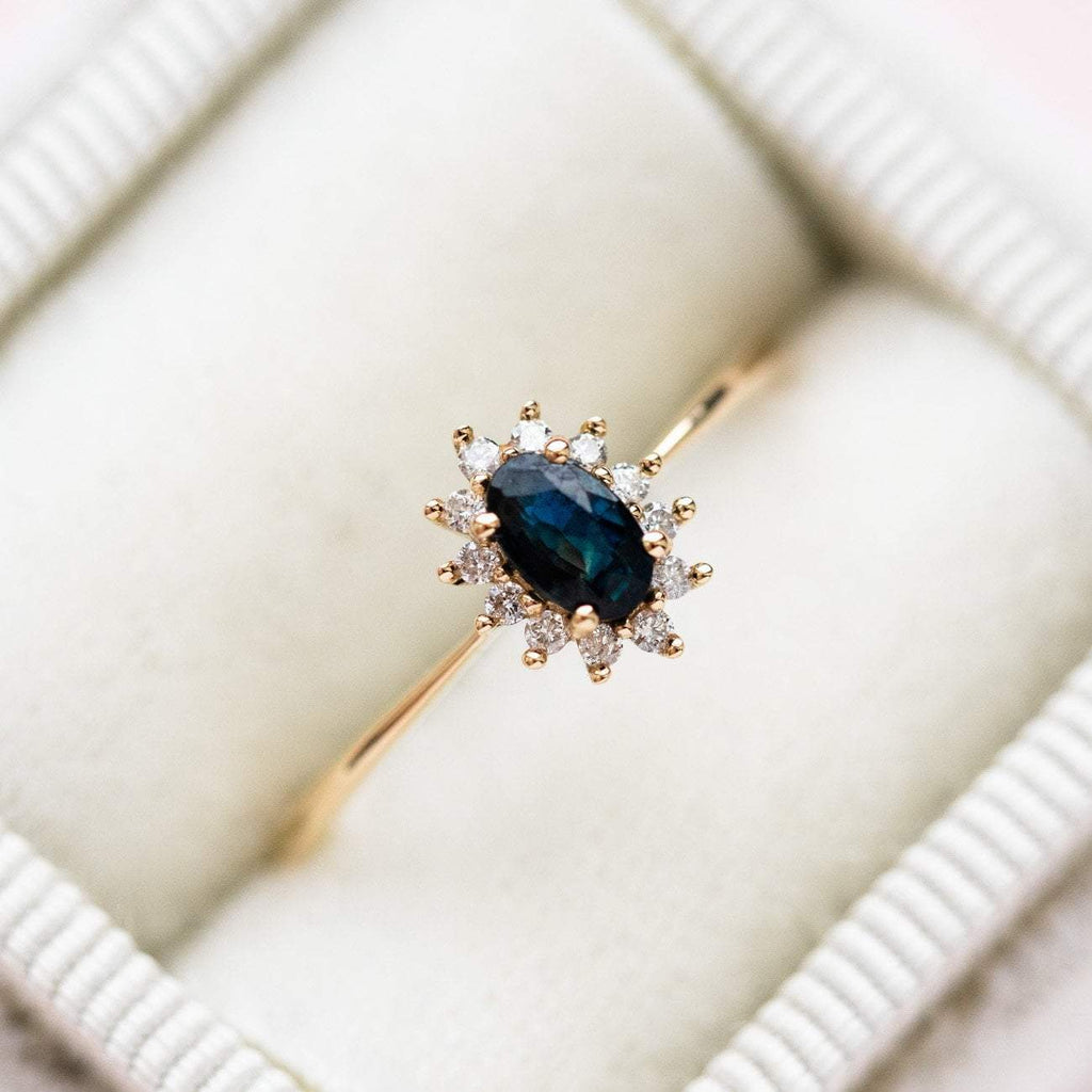 14k Solid Gold Teal Sapphire Diamond Ring