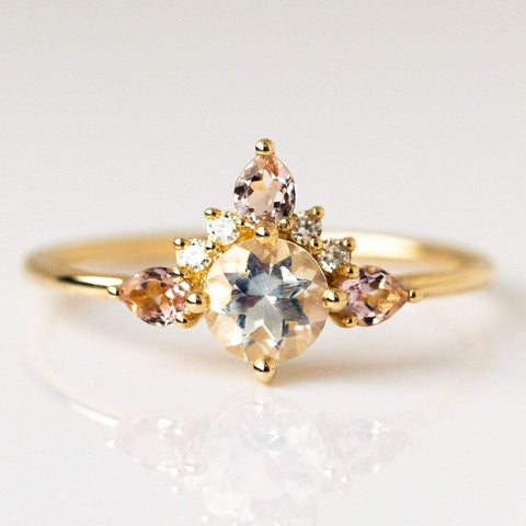 14kt Rainbow Moonstone Morganite & Diamond Unicorn Ring