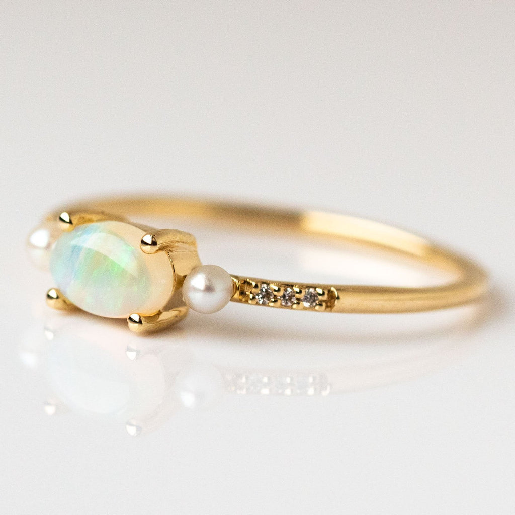 14kt Opal Diamond & Pearl Hint of Vintage Ring