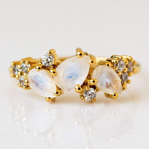 Local Eclectic - Rainbow Moonstone & Diamond Midnight Summer Nights Dream Ring