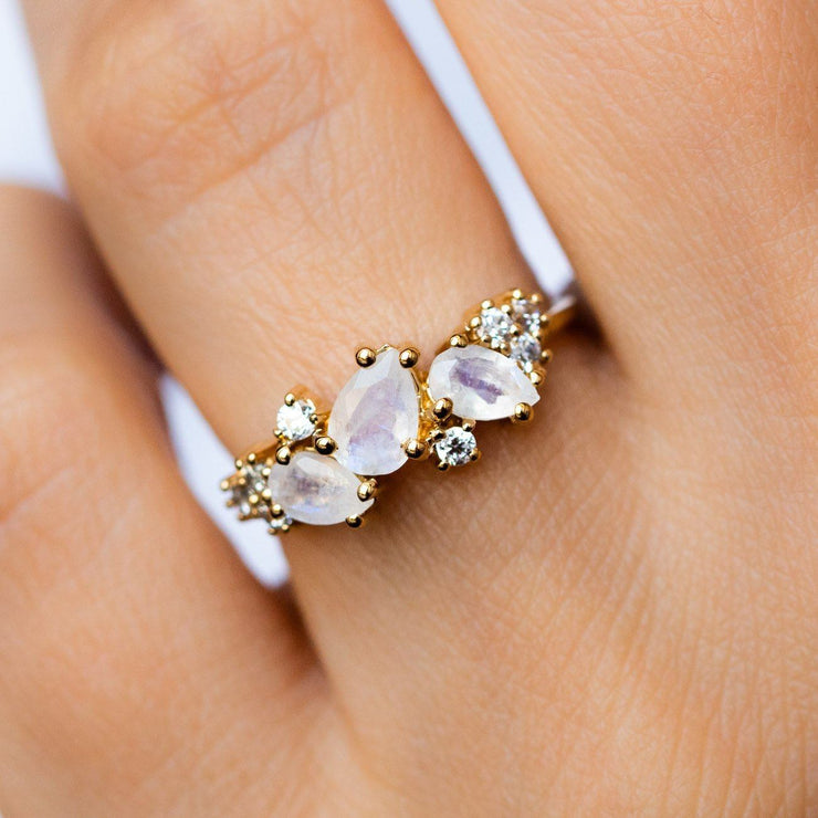 Local Eclectic - Rainbow Moonstone & Diamond 18K Yellow Gold Ring - La Kaiser