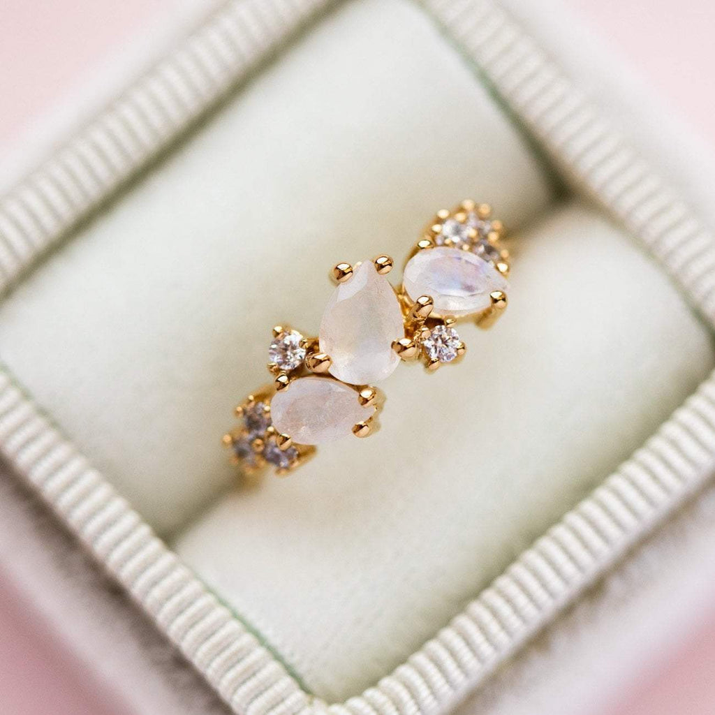 Local Eclectic - Rainbow Moonstone & CZ 18K Yellow Gold Ring - La Kaiser