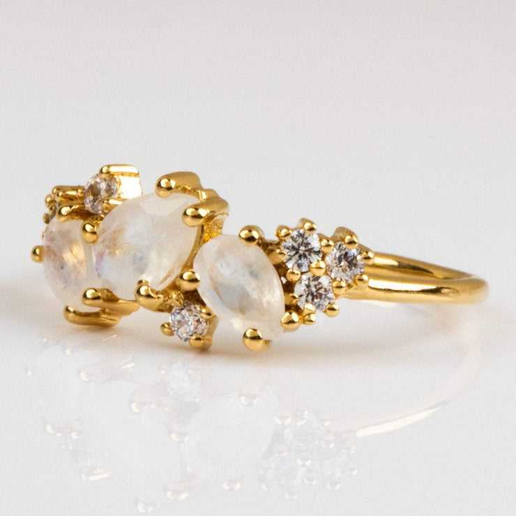 Local Eclectic - Rainbow Moonstone & Cubic Zirconia 18K Yellow Gold Ring - La Kaiser