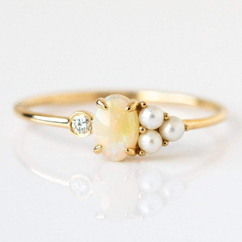 14K Opal, Diamond & Pearl Sundae Ring