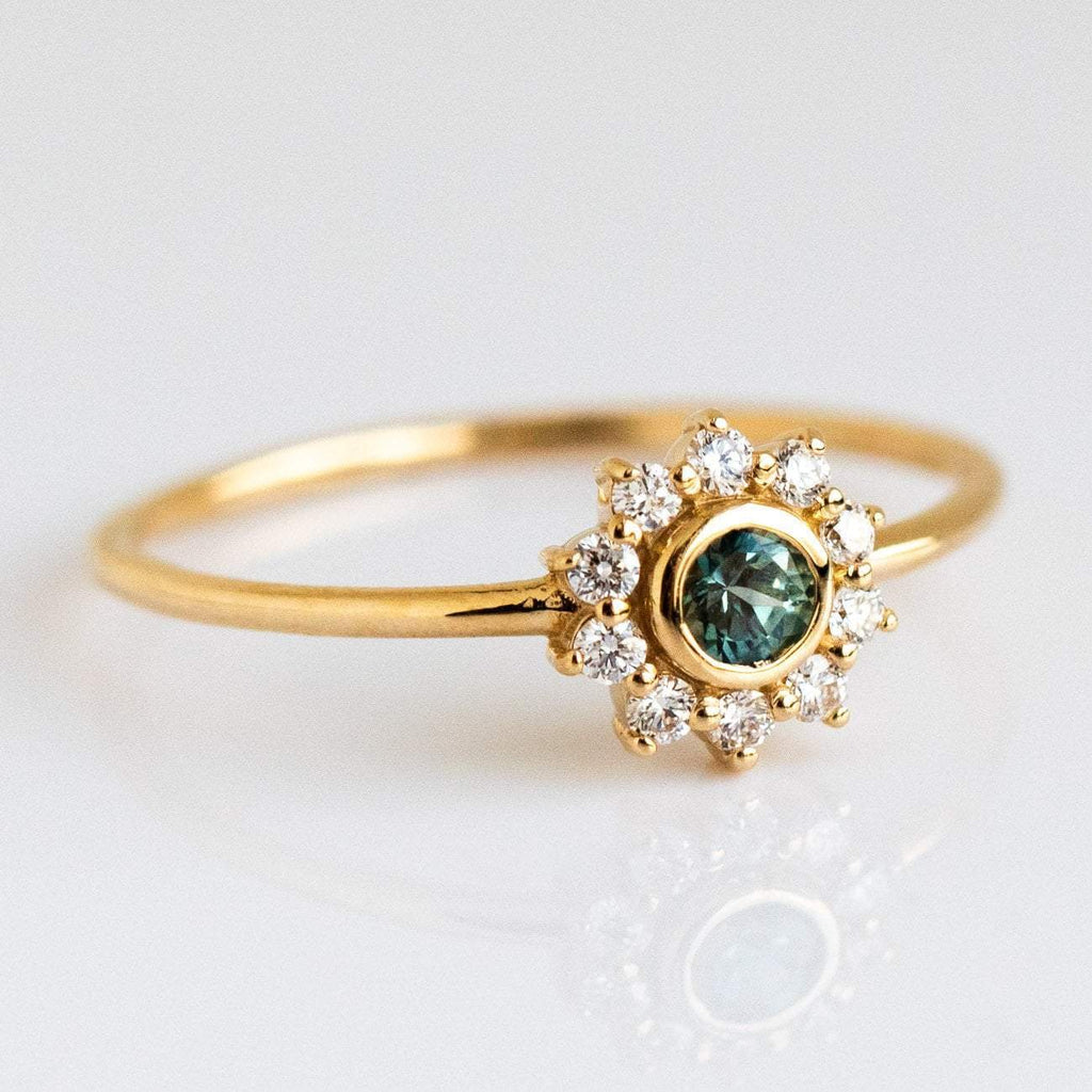 Floral Inspired Solid Yellow Gold London Blue Topaz Diamond Ring