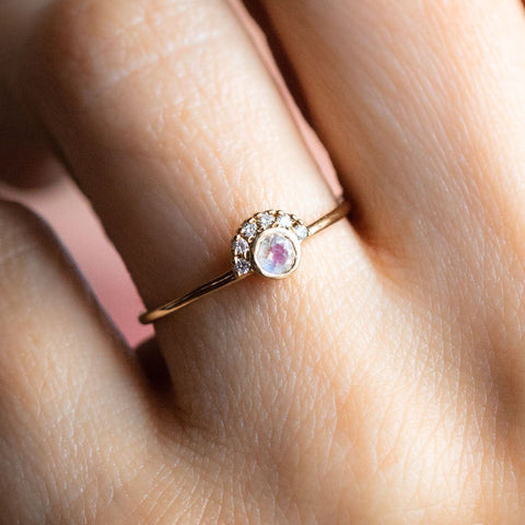 Local Eclectic - 14K Gold Rainbow Moonstone and Diamond Ring - Rings - La Kaiser