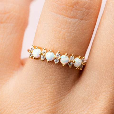 Opal Simulated Diamond Yellow Gold Ring La Kaiser Simple Modern