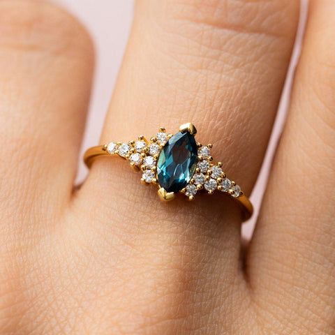 London Blue Topaz and Diamond Simple Statement Ring La Kaiser