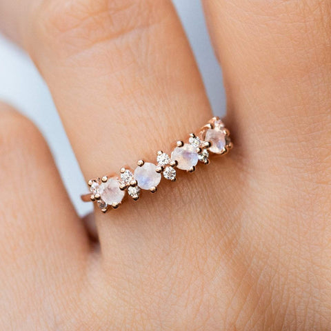 Rose Gold Rainbow Moonstone Diamond La Kaiser Ring