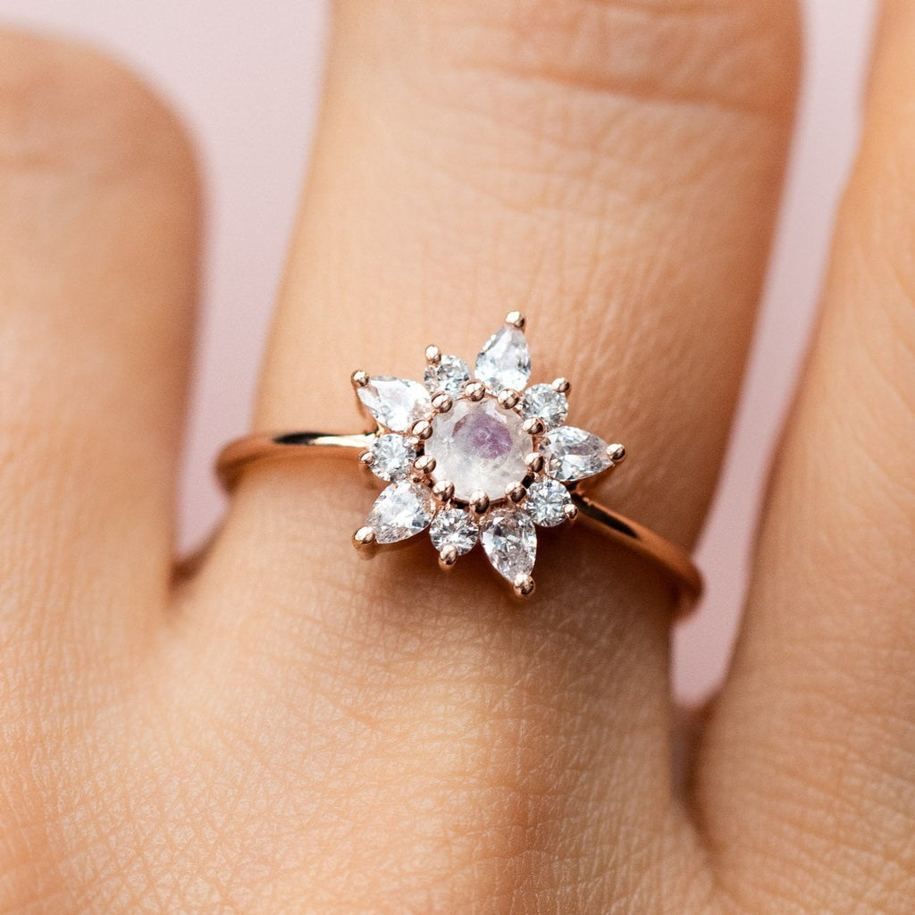 Rose Gold Rainbow Moonstone Simulated Diamond La Kaiser Floral Inspired Ring