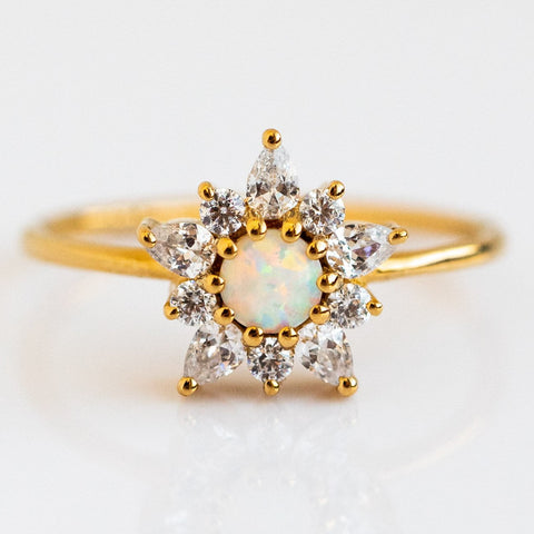 Opal Diamond Floral Inspired Yellow Gold Ring La Kaiser