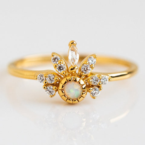Opal Diamond Pocahontas Inspired Yellow Gold Crown Ring La Kaiser
