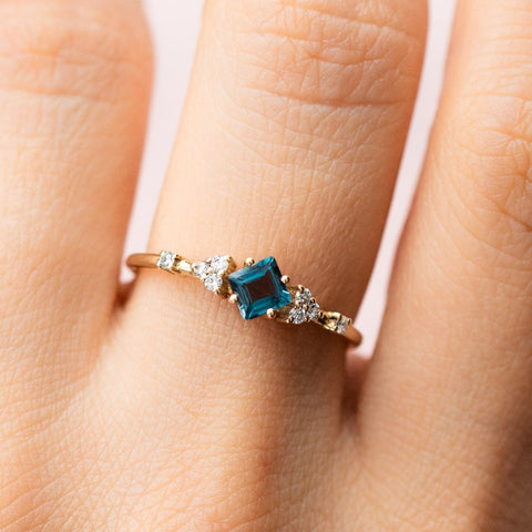 14k Solid Yellow Gold London Blue Topaz and Diamond Vintage Inspired Ring