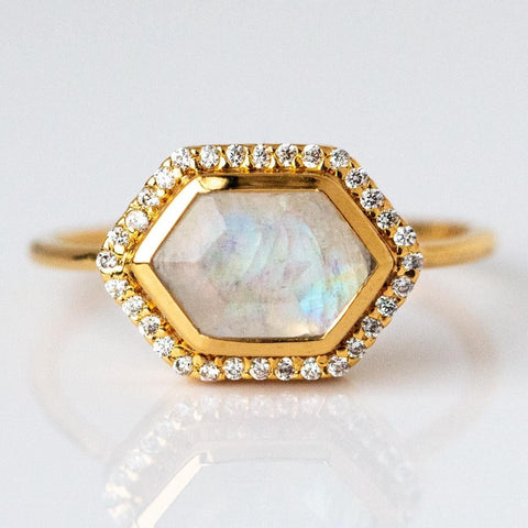 Rainbow Moonstone & Diamond Royale Ring