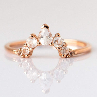 Angelic Stacking Ring Rose Gold with White Topaz Arc