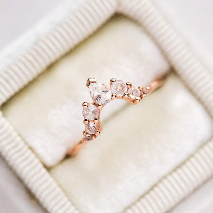 Angelic Ring Stacking Ring Rose Gold with White Topaz Arc