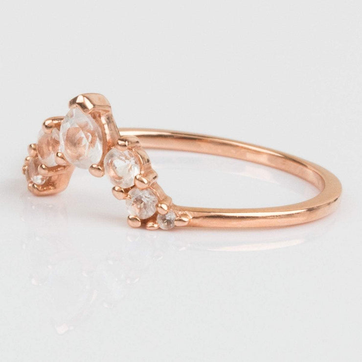 La Kaiser Rose Gold Stacking Ring White Topaz Stones