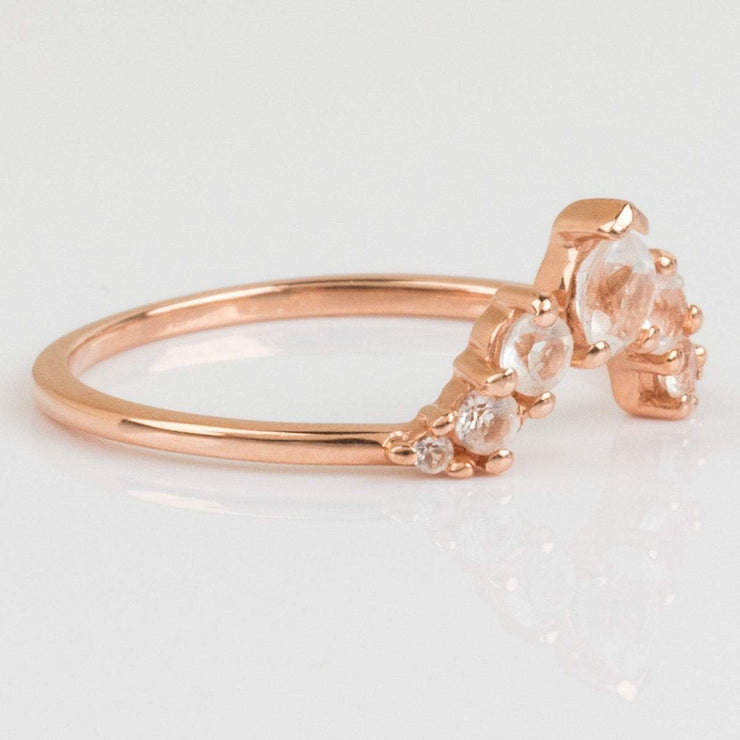 Rose Gold Stacking Ring White Topaz Stones