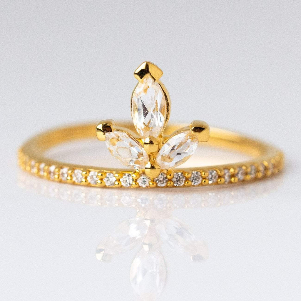 White Topaz Snowflake Ring