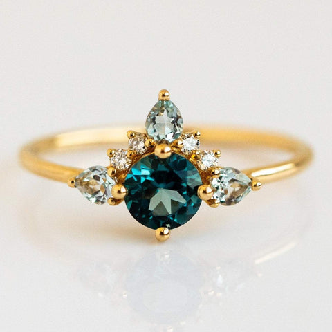 14k Blue Topaz Diamond Unicorn Solid Yellow Gold Ring La Kaiser