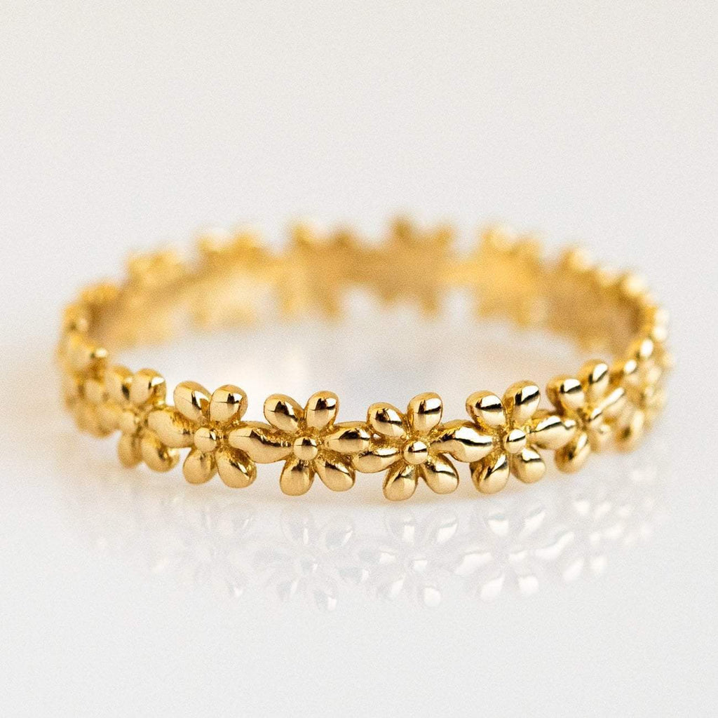 Yellow Solid 14k Gold Flower Child Floral Inspired Statement Band La Kaiser