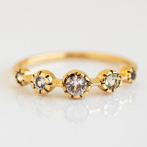 14k White Sapphire Solid Yellow Gold Vintage Inspired Ring La Kaiser