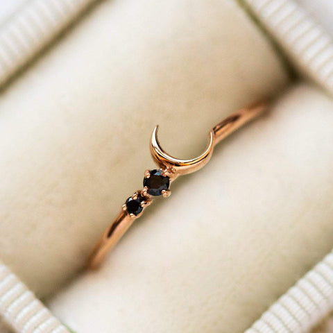 14k Solid Rose Gold Black Diamond Celestial Moon Ring La Kaiser