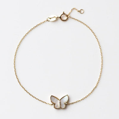 10kt Mother of Pearl and Diamond Mini Butterfly Bracelet