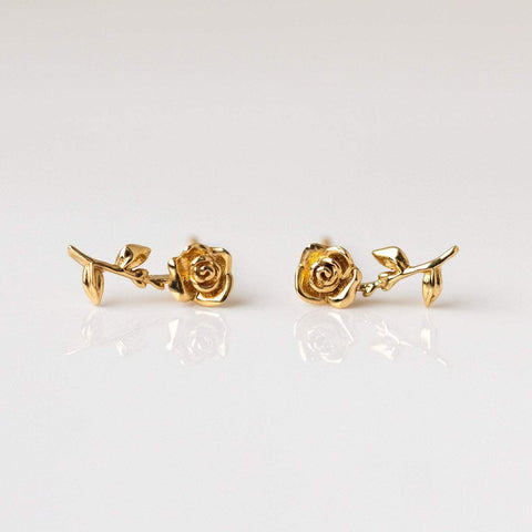 14k solid yellow gold forever rose stud earrings floral inspired jewelry