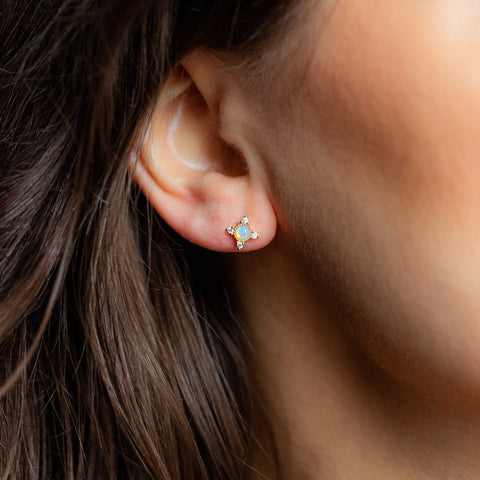 14kt Gold Opal & Diamond Cosmos Studs
