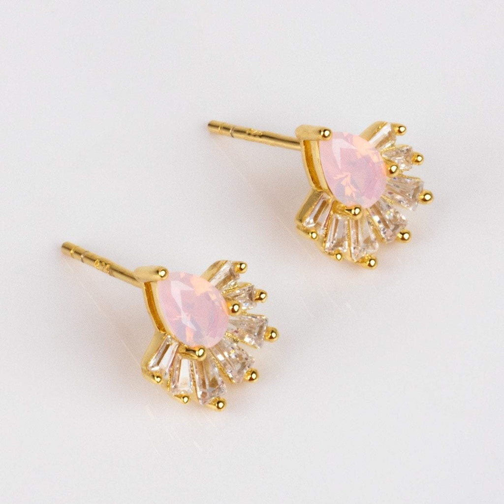 Pink Opal Diamond Swan Lake Stud Earrings Statement La Kaiser