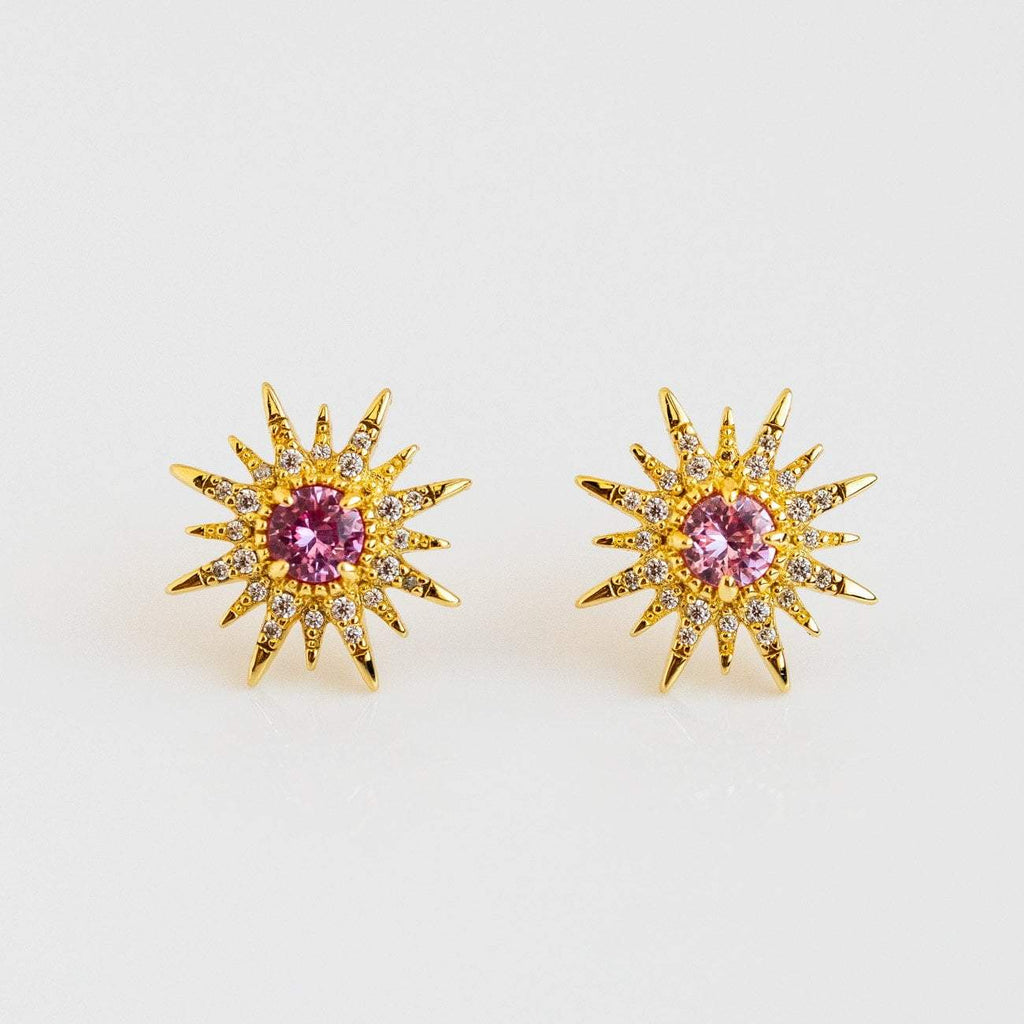 Mini Comet Celestial Inspired Stud Earrings Pink Simulated Diamonds Yellow Gold La Kaiser