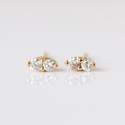 14K Gold Diamond Pavilion Stud Earrings