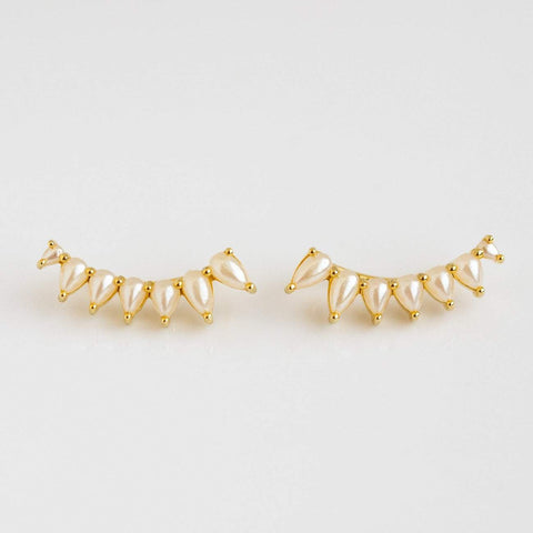 Pearl Ear Climber Earrings Yellow Gold Vintage Inspired La Kaiser