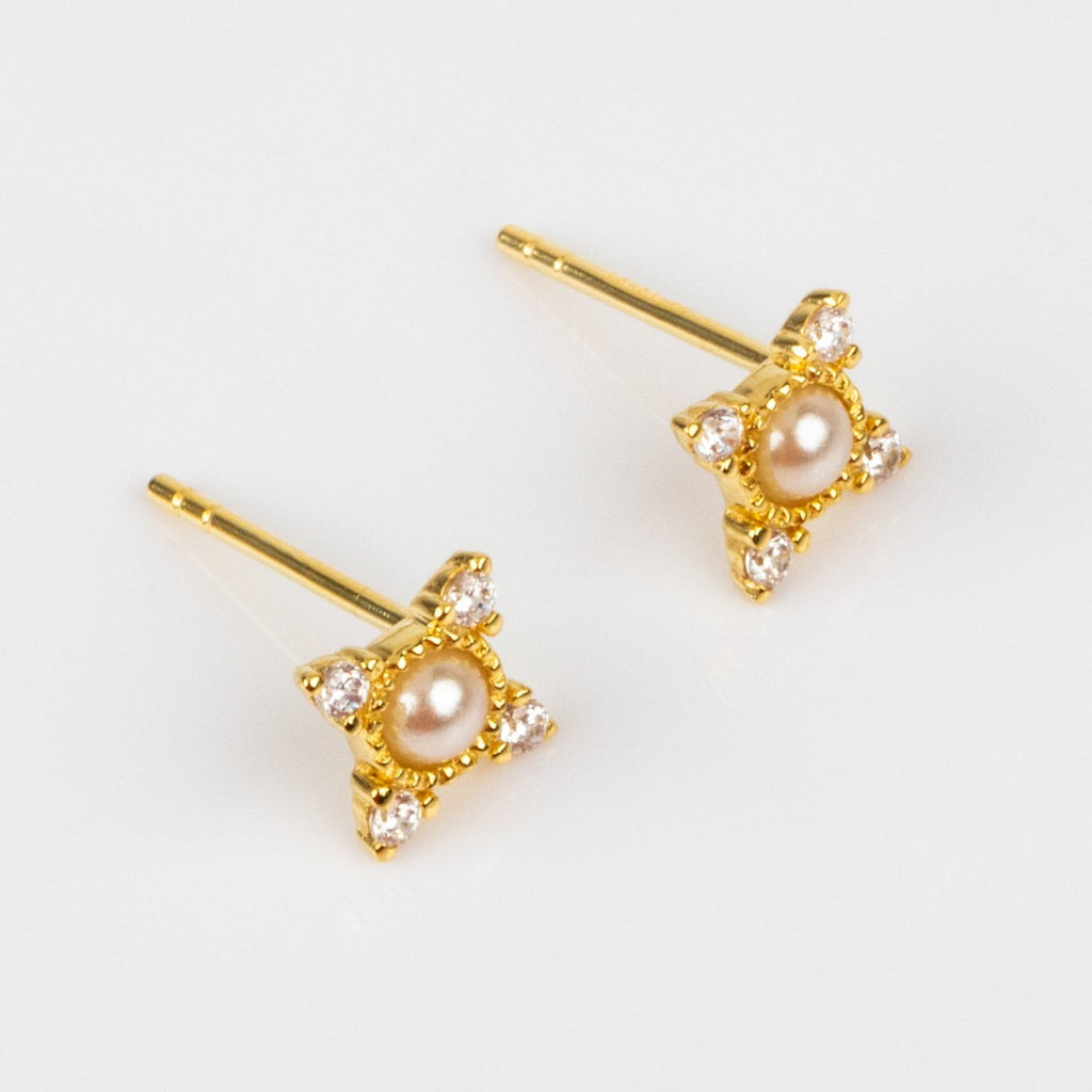 Natural Pearl Simulated Diamond Cosmo Inspired Stud Earrings Delicate Yellow Gold La Kaiser