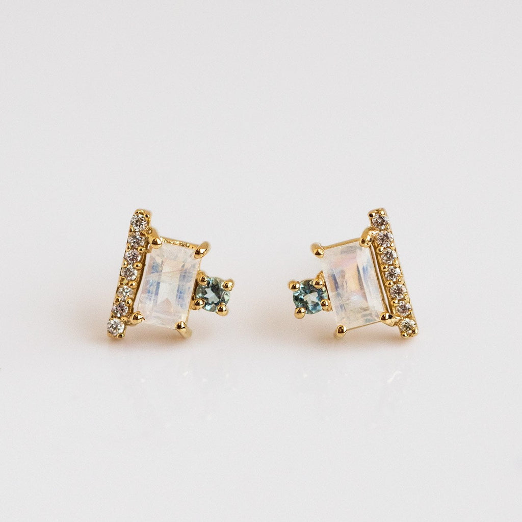 14k Rainbow Moonstone Diamond Aquamarine Geometric Modern Stud Earrings La Kaiser