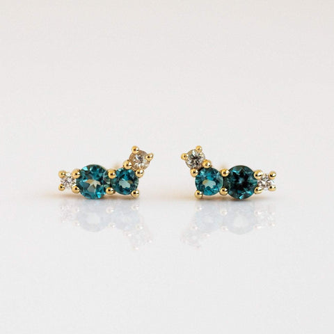 Tourmaline Aquamarine Chalcedony Diamond Solid Yellow Gold Stud Earrings