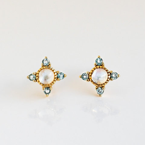 Solid Yellow Gold Moonstone Topaz Stud Earrings Compass Inspired La Kaiser