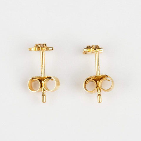 Mini Stud Earring Star Diamond La Kaiser Solid Yellow Gold