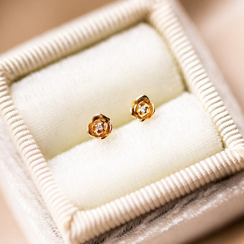 14k solid gold diamond rose stud earrings
