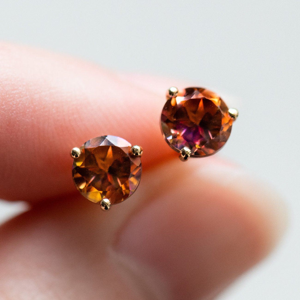 topaz solid gold unique statement studs colorful gemstones