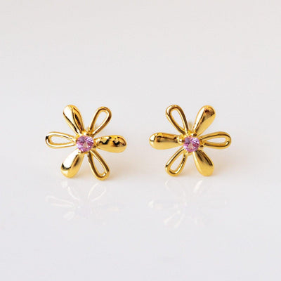 Forget Me Knot Daisy Stud Earrings dainty yellow gold floral jewelry