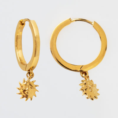 Forever Sunshine Hoop Earrings unique yellow gold celestial huggie jewelry