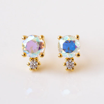 Opalescent Topaz and Diamond Doublet Stud Earrings