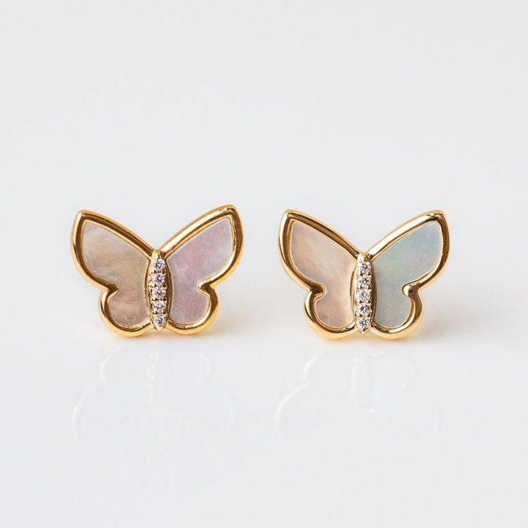 10K Mother of Pearl and Diamond Butterfly Studs