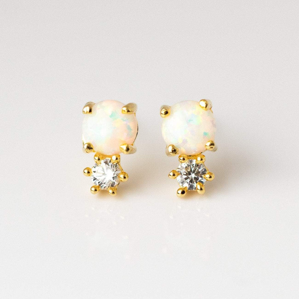 Opal & Diamond Doublet Stud Earrings